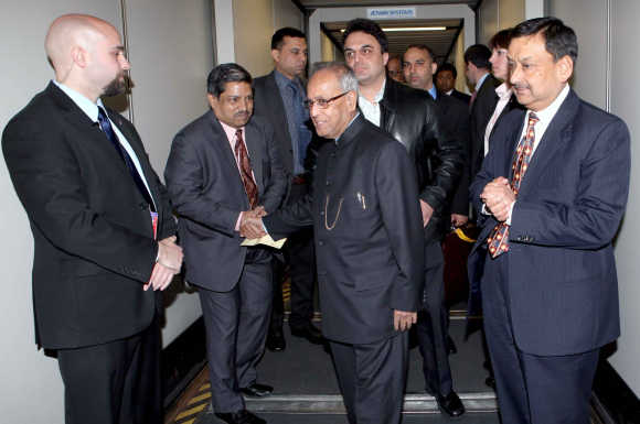 Pranab Mukherjee on way to New Delhi.
