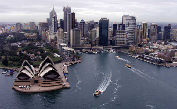 An aerial view of Sydney's Opera House and Cir