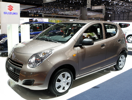 The Alto 1.0 GL AC Automat car by Suzuki is pictured during the second media day of the 79th Geneva Car Show.