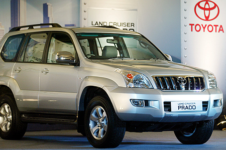 Toyota Kirloskar Motor's Landcruiser PRADO is displayed during a function.