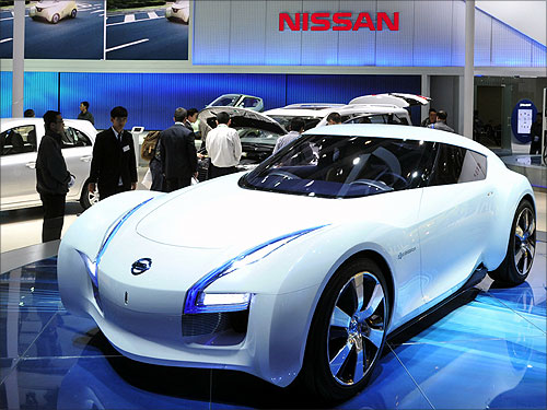 A Nissan ESFLOW concept car is displayed at Auto China 2012 in Beijing.