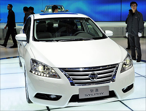 Nissan's new Sylphy is displayed at Auto China 2012 in Beijing.