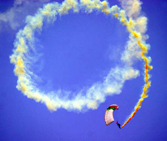 A paratrooper performs in Lahore.