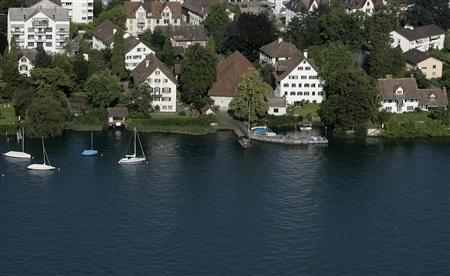 An aerial view shows the swiss town of Kusnacht, near Zurich.