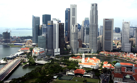 A general view shows the skyline of Singapore's Financial District.