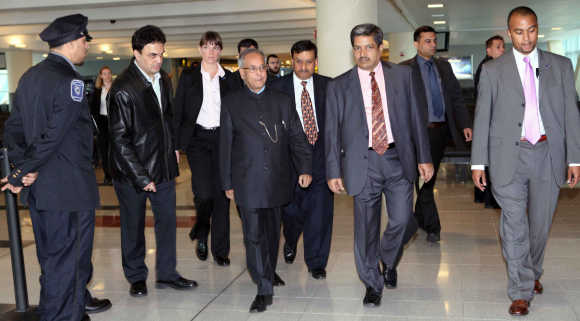 Pranab Mukherjee at JFK Airport in New York in a file photo.