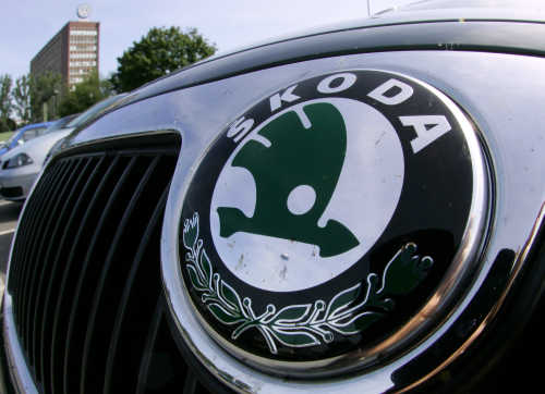 A logo of the Skoda company.