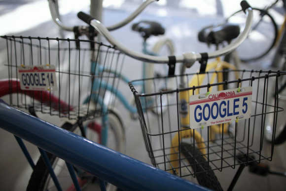 Bicycles for use by employees are lined up at the Google campus near Venice Beach in Los Angeles.