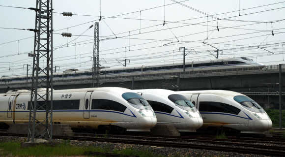 High-speed trains at Shanghai Hongqiao depot.