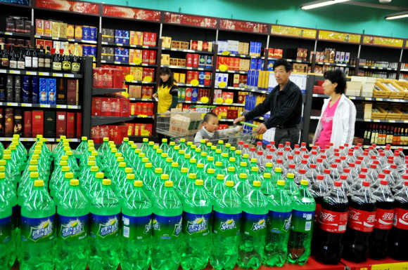 People purchase goods at a supermarket in Lianyungang, Jinagsu Province of China.
