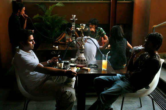 Locals at a coffee shop in Bangalore.