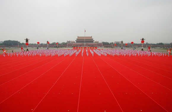 More than 10,000 children perform on Tiananmen Square in Beijing, China.