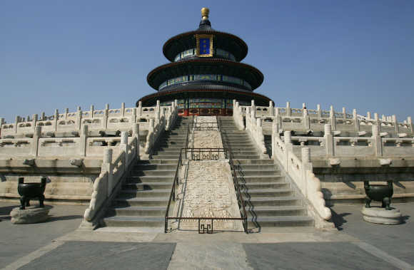 The Hall of Prayer for Good Harvests stands at the Temple of Heaven in Beijing, China.