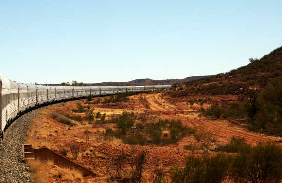 The Ghan winds it's way through the outback in Australia.
