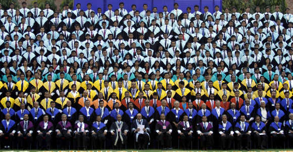 Students and faculty members of IIM attend their annual convocation ceremony in Ahmedabad.