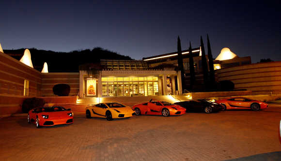 Lamborghinis are parked at the Skirball Centre in Los Angeles, California.