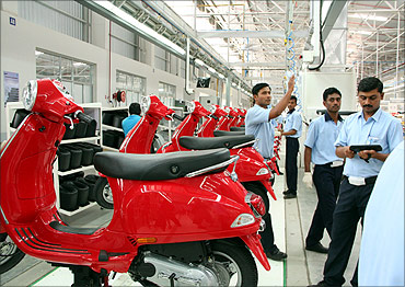 At the Vespa factory in Baramati