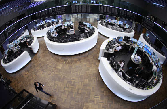 A view of the trading floor at the Frankfurt stock exchange.