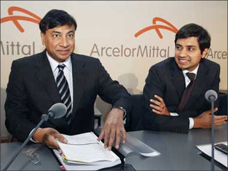 A file photo of Lakshmi Mittal with son Aditya.