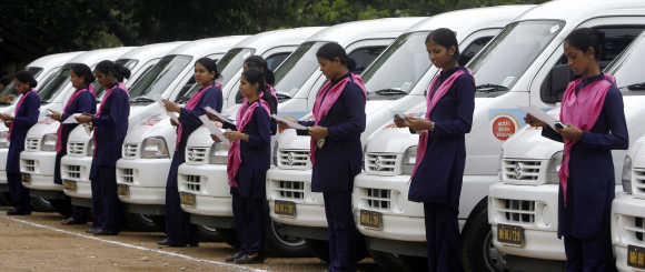 Women taxi drivers in Mumbai.