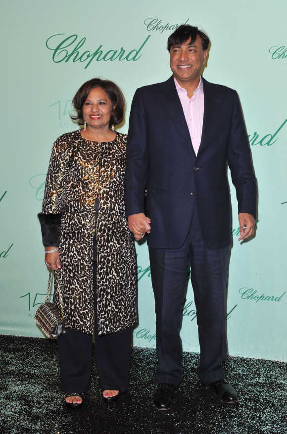Lakshmi Mittal with his wife Usha.