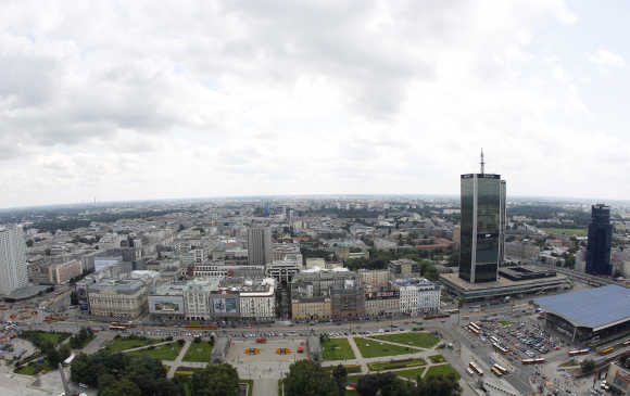 The cityscape of southern side of Warsaw.