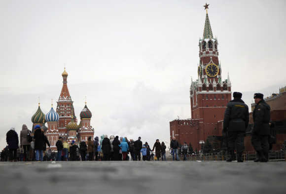 A view of the Red Square near the Kremlin in Moscow.