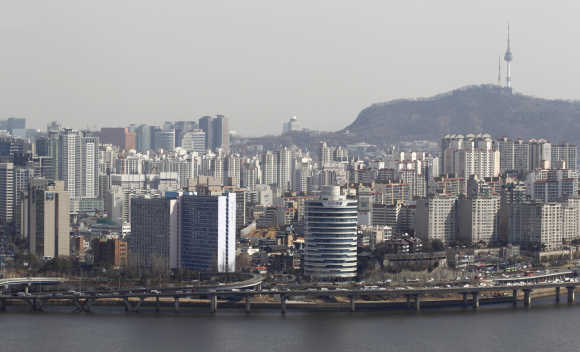 A view shows part of central Seoul.