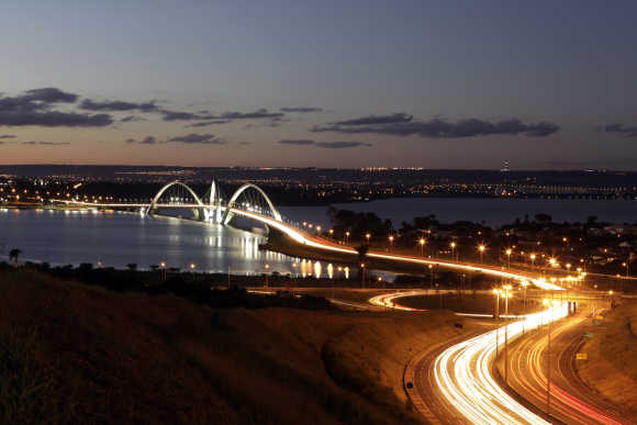 The Juscelino Kubitschek bridge designed by architect Alexandre Chan is seen in Brasilia.