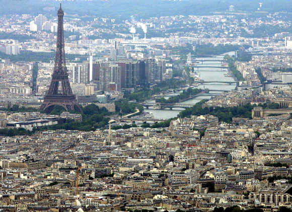 An aerial view shows the Eiffel tower in Paris.