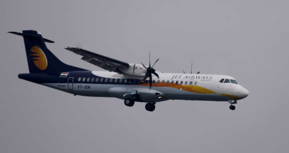 A Jet Airways aircraft prepares to land at the airport in Mumbai.