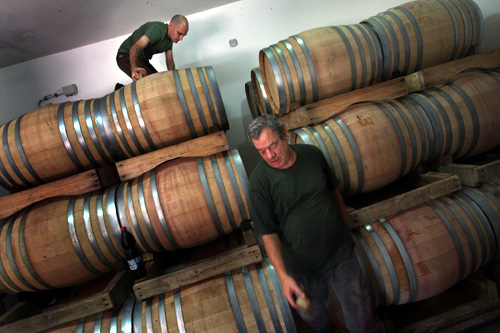 Wine is aged in barrels