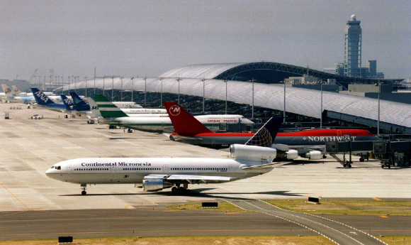 A view of Kansai International Airport in Osaka.