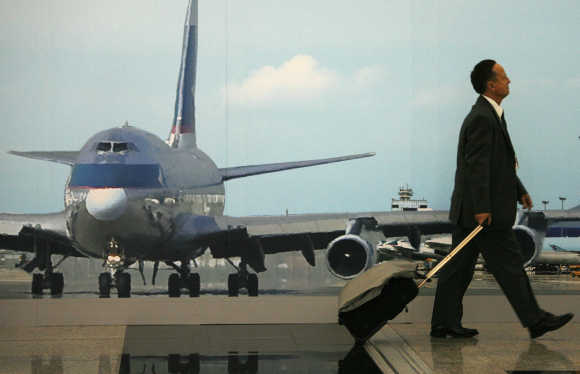 A traveller at Hong Kong International Airport.