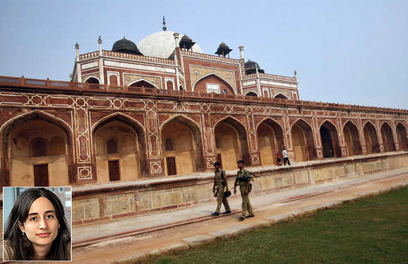 Rema Hanna, inset. Security personnel keep watch inside the lawns of Humayun's Tomb in New Delhi.