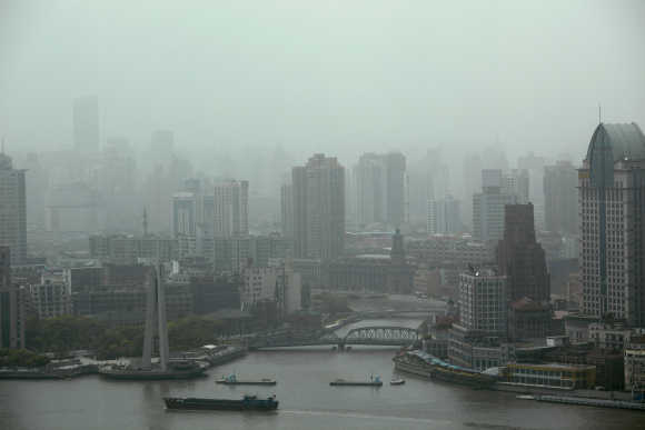 A view of downtown Shanghai on a hazy day.