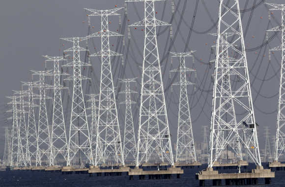 Transmission towers carrying solar and thermoelectric power from the Korea South East Power Company plant in Ansan.