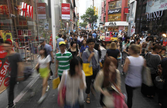 A view of Myeongdong shopping district in central Seoul.