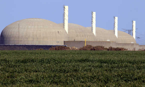 The Paluel nuclear plant is seen across fields in Paluel, northern France.