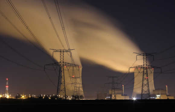 The EDF nuclear power station of Cattenom near Thionville, Eastern France, at night.