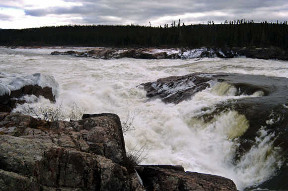 Muskrat Falls is seen at the Churchill River in central Labrador, Canada.