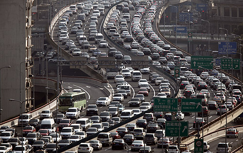 A general view of heavy traffic on a highway during the morning rush hours in Shanghai.