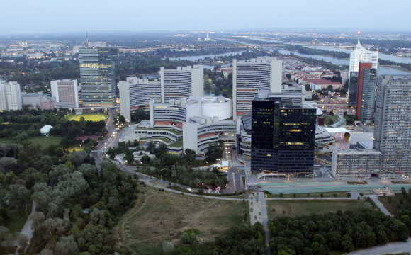 A view of Vienna International Center and UN headquarters in Vienna.