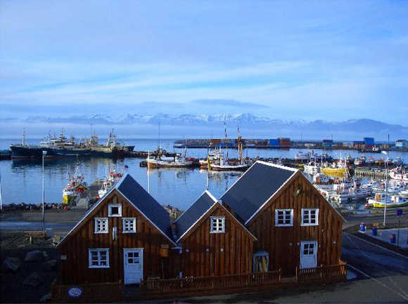 A view of Icelandic town of Husavik.