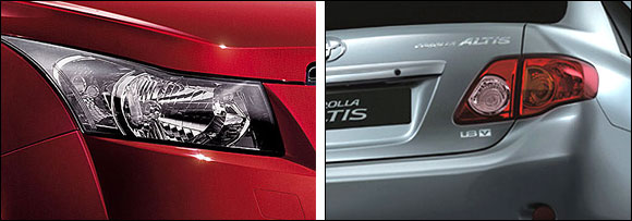 Cruze head lamps and Altis tail lamps.