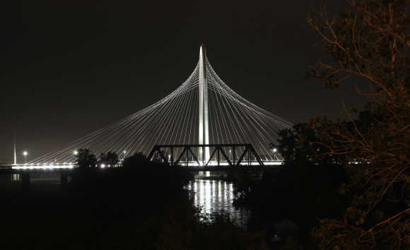 A view of the Margaret Hunt Hill Bridge in Dallas, Texas.