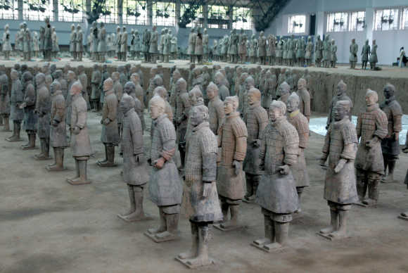 Tomb No 1, the largest of the three pits where China's army of terracotta soldiers are buried, at a museum located about 40km from the ancient capital of Xian in northern China.