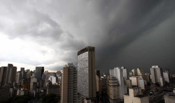 Storm clouds are seen above the city in Sao Paulo.