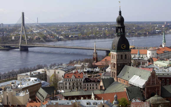 A view of the Doma church and the Riga suspension bridge in Riga, Latvia.