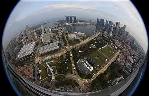 An aerial view of Marina Bay and central business district skyline in Singapore